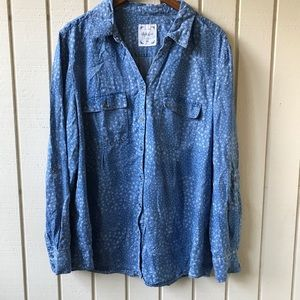 Style & Co Boho Floral Chambray Button Up Shirt